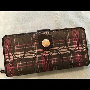 Coach plaid black and pink wallet, MINT condition.